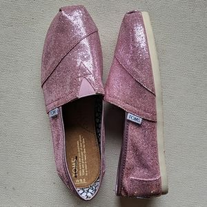Toms Glitter Pink Shoes Women's Size 9.5 Slip On